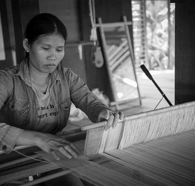 Weaving silk at angkor silk farm siem reap