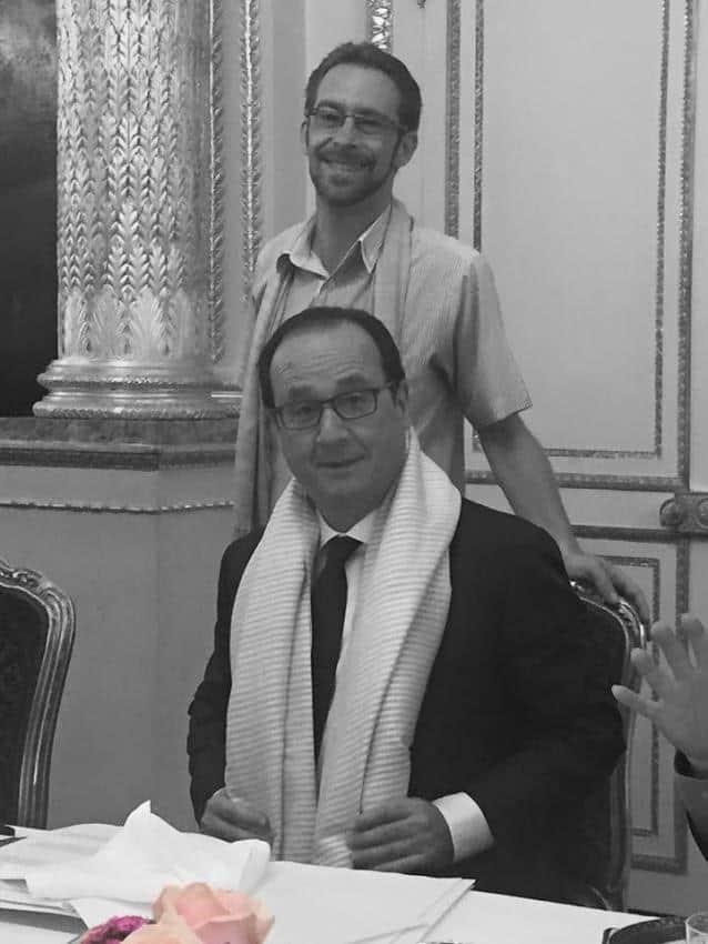 French President Francois Hollande wearing Samatoa Serenity Lotus Scarf