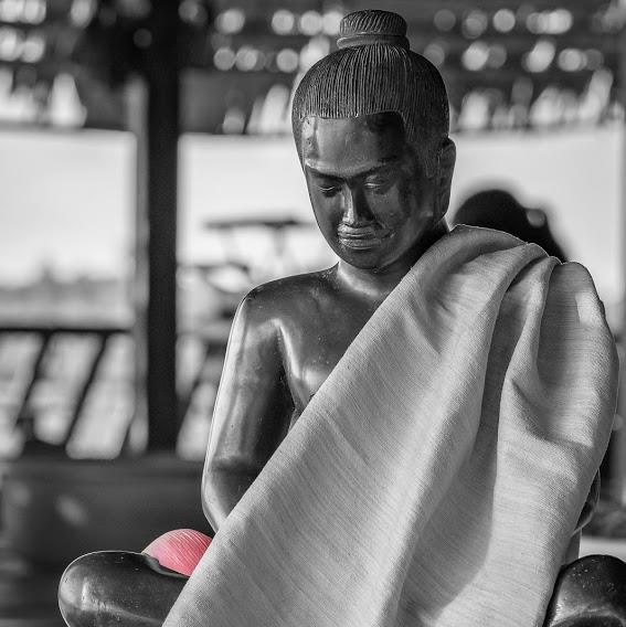Buddha with lotus scarf