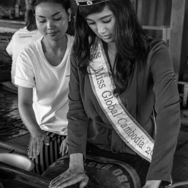 Miss Cambodia visiting our eco textile farm near Angkor