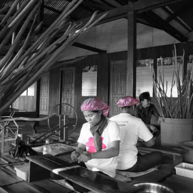 Making yarn at Lotus Farm Siem Reap