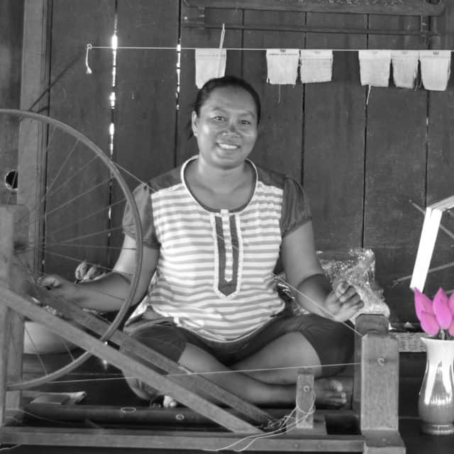 Spinning yarn near Phnom Krom, Siem Reap